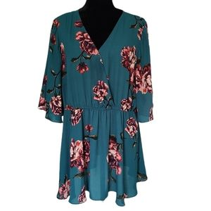 Soprano Deep Teal Floral Print Short Sleeve Blouse